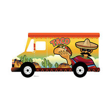 "Taco Food Truck Cardboard Cutout Standup Standee Poster Prop 7' 5"" Wide Freeship"