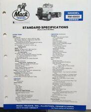 1982 Mack Trucks Model RM-600SX Diagrams Soecifications Sales Brochure Original