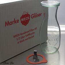 6 Weck Einkochgläser / Einmachglas 1/2 ltr. Saftflasche / Karaffe inkl. Zubehör