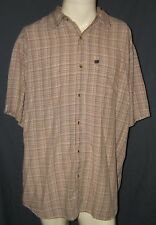The North Face Men's Short Sleeve Button Up Brown Plaid Shirt