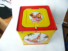 Curious George toy tin box monkey banana bicycle 1995 Korea used rare