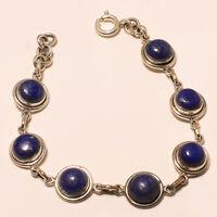 "925 Solid Sterling Silver Charming Best Quality Lapis Lazuli Bracelet  ""7.00"""