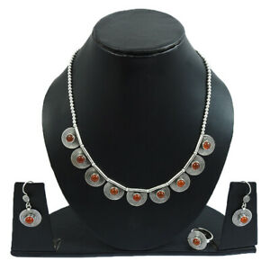 Natural Carnelian Earring Ring Necklace Set 925 Sterling Silver Jewelry L45