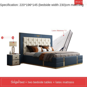 light luxury furniture leather bed leather art bed large apartment master bedroo