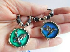 """Colour Changing Mood Pendant On 18"""" Black Cord Necklace Hummingbird Or Eagle"""