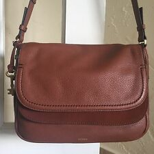 Fossil Peyton Large Double Flap Crossbody Bag ZB7101 Brown Leather $228