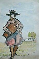 XX century João Alberto Watercolor Portuguese Woman ALentejo