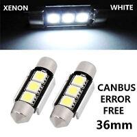 2x 36mm 3 SMD LED WHITE C5W NO ERROR Car Licence Number Plate Light Bulbs 12V