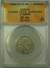 1926 Far 6 Canada 5 Cents Coin ANACS EF-40 Details