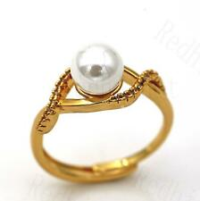 18K Gold Filled Adjustable Ring Twisted Hollow Swirl Big Pearl Zircon Wedding DS