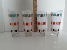 "New ListingVintage Mcm Glasses Lot of 4 Drinking Glasses Tumblers Glassware 7"" Tall"