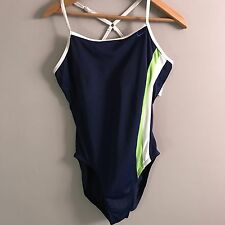 Nike One Piece Blue Swoosh Swimsuit Swimwear Swim Bathing Summer Size 10 A69
