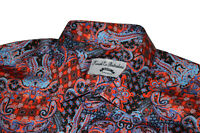 NWT Konak Mens Baroque Blue Black Red Batik Paisley Shirt Luxury Cotton graham