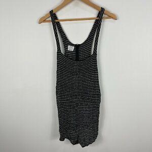 RVCA Playsuit Romper Womens Size Medium Black Sleeveless Zip Scoop Neck 51.12