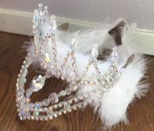 White Swan Feathered Professional Silver AB Crystal Ballet Tiara Headpiece NEW!