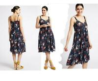 Per Una M&S Navy Floral Chiffon Strappy Lined Summer Dress 6 - 22  RRP £45