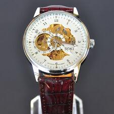 SOKI Skelettuhr Weiss Zifferblatt Mechanische Herren Leder Armband Automatik Uhr