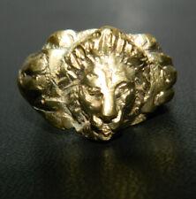 Aufwendiger römischer Bronzering, Goldglanz, ca. 1.-3.Jhr. - Löwenkopf-Motiv
