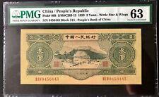 珍稀!二版大珍绿三元 China Banknote: 1953 Banknote 3 Yuan, PMG 63, Pick#868, SN:0450443