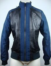 G-Star Raw RS Conway Leather Bomber Jacket Giacca Taglia M BLACK NAVY NUOVO con etichetta