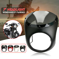 "7"" Universal Motorcycle Headlight Retro Cafe Racer Handlebar Fairing Windshield!"
