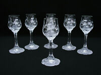 """(6) ROSENTHAL - CATHERINE ETCHED - 5 1/2"""" CORDIAL GLASSES - CLASSIC ROSE"""