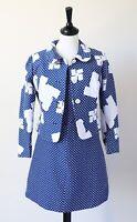 Vintage Mini Dress and Jacket Suit 1960s Spotted UK 8 / 10