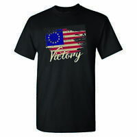 Betsy Ross Distressed Vintage Flag Victory on a Black Shirt