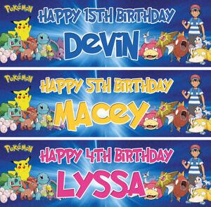 2 Personalised Pokemon Birthday Banner Nursery Children Kids Party decoration