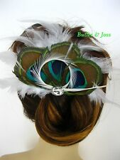 Peacock Feather Hair Clip Pin Accessories Fascinator Handmade in UK 'Bianca'