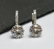 18ct White Gold Filled White Cubic Zirconia Drop/Dangle Leverback Earrings 245