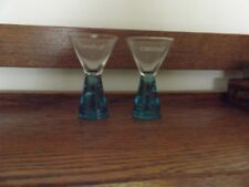 2 Carnival Cruise Lines Shot or Cordial Glasses Pedestal Bubble Glass Base