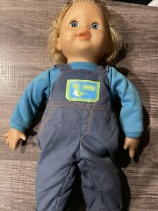"Vintage Fisher Price BOY Doll Blonde HAIR BLUE EYES 21"" TALL With Overall"