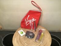 1990's Virgin Airlines Amenities Travel Pouch Branson WOW Red Aviation Collector
