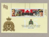 RCMP = POLICE = Embossed SS of 2 with ITALIA '98 EMBLEM Canada 1998 #1737e MNH