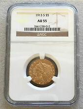 1913 S GOLD US $ 5 DOLLAR INDIAN HEAD HALF EAGLE COIN NGC ABOUT UNCIRCULATED 55