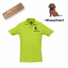Camiseta Polo Algodón Bordado Perro salchicha 1 + Texto personalizado