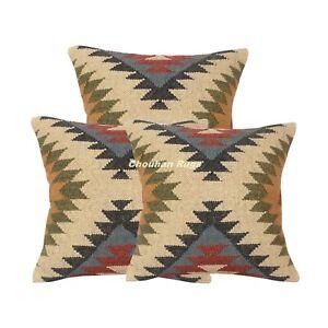 3 Set of Handmade Kilim Jute Cushion Cover 18x18 Hand-woven Pillow Covers 1118C