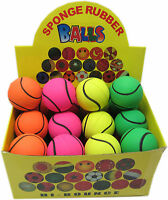 Box of 24 x Hi-Bounce Soft Foam Rubber balls ideal for Dogs. Tennis Ball Design.