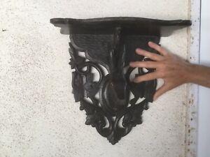 Black Forest German Antique Victorian Carved Wood Glass eyed Deer Wall Shelf