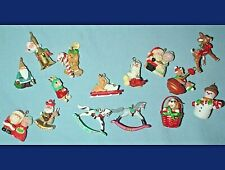 15 Mini Christmas Ornaments Snowman Santa Rocking Horses Dog Bunny Reindeer, etc