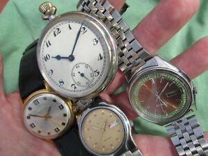4X Vintage Gents Watch Repair 2x SEIKO Automatics Sekonda Alarm+ Art Deco Pocket