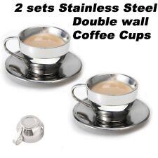 2 Sets 6.5oz Espresso Coffee Cups and Saucers Double Wall Mug Travel Tumbler Tea