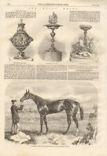 1861 ANTIQUE PRINT- THE ASCOT RACES, CUPS, ASCOT CUP WINNER