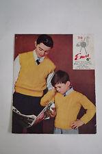 "Vintage Emu 3 Ply Knitting Pattern Child's V Neck Pullovers 24 - 34""  710"