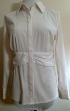Womens East5th Poly Nylon White M Medium Long Sleeved Stretch Blouse Button Fr