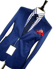 BNWT LUXURY MENS ACNE LONDON ROYAL BLUE SLIM FIT CHIC CROPPED SUIT 38R W32 X L29