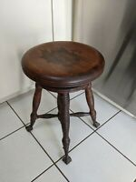 ANTIQUE PIANO ORGAN STOOL TONK CHICAGO & NEW YORK SWIVEL SEAT CLAW & BALL FEET