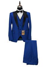 Hombre Azul Trajes de Diseño Boda Novios Cena (Chaqueta +Chaleco+ Pantalones