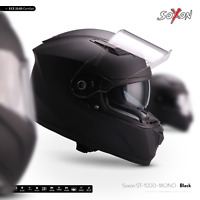 SOXON ST-1000 MONO BLACK INTEGRAL-HELM ― FULL-FACE MOTORRAD-HELM ROLLER ― XS–XXL